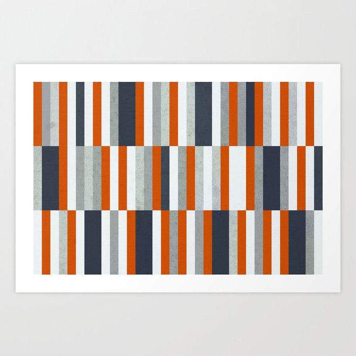 Orange, Navy Blue, Gray / Grey Stripes, Abstract Nautical Maritime Design by Kunstdrucke