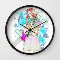sagittarius Wall Clocks featuring Sagittarius by Sara Eshak