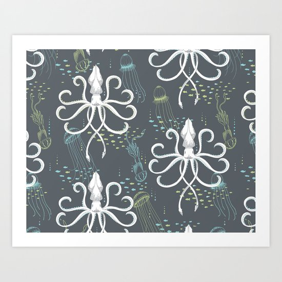 Ghostly Squid Damask Art Print