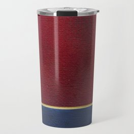 Deep Blue, Red And Gold Abstract Painting Travel Mug