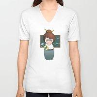 teacher V-neck T-shirts featuring Kokeshi Teacher  by Pendientera