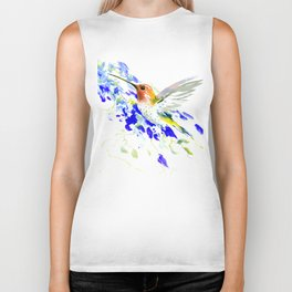 Hummingbird and Blue Flowers Biker Tank