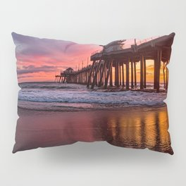 HB Sunsets  3-21-16 - Sunset At The Huntington Beach Pier Pillow Sham
