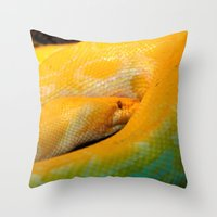 monty python Throw Pillows featuring Albino Python by GardenGnomePhotography