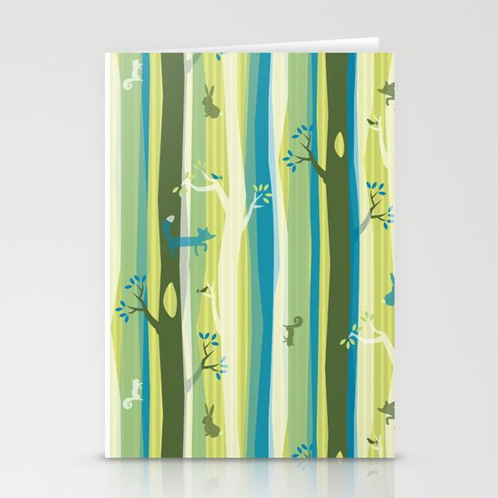 Woodland Stripe Stationery Cards