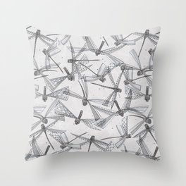 watercolor dragonflies silver Throw Pillow