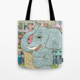 Elephant Reading Tote Bag