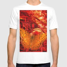 Butterfly in red universe Mens Fitted Tee White MEDIUM
