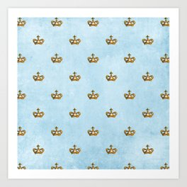 Gold crowns on lightblue watercolor backround - pattern Art Print
