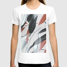 Seamless pattern black red and white long leaves T-shirt