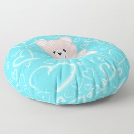 Patched Teddy Love Floor Pillow