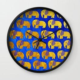 Golden elephant ecopop Wall Clock