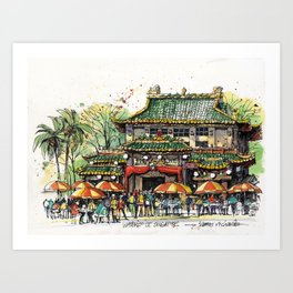 Chinese Temple on Waterloo Street, Singapore Art Print