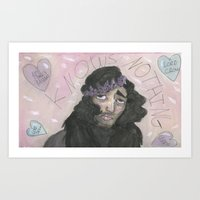 jon snow Art Prints featuring Jon Snow Knows Nothing by Eyebrows Draws
