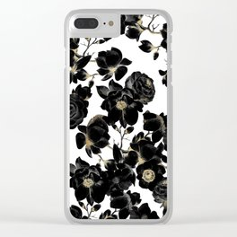 Modern Elegant Black White and Gold Floral Pattern Clear iPhone Case