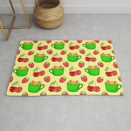 Cute happy playful funny Kawaii baby kittens sitting in little green espresso coffee cups, ripe yummy red summer cherries and strawberries fruity pastel bright sunny yellow design. Rug