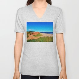 PEI Beach and Cliffside Parking Unisex V-Neck