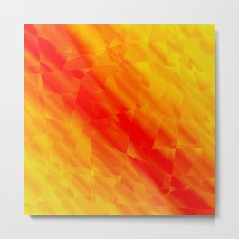 Glowing metallic yellow fragments of yellow crystals on irregularly shaped triangles. Metal Print