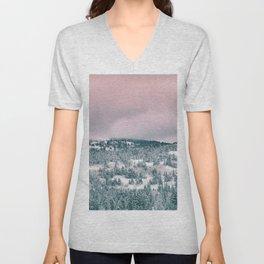 Blush Sky in Woodland Heights Unisex V-Neck