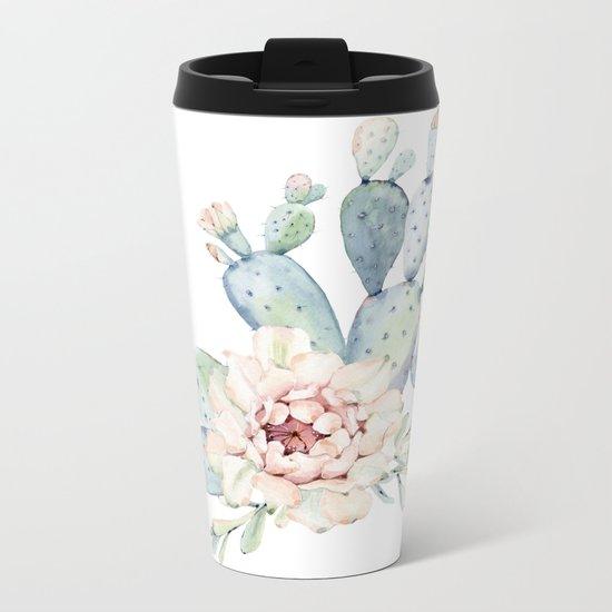 Perfect Cacti Rose Metal Travel Mug