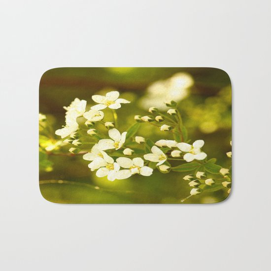 Tiny White Flowers Bath Mat