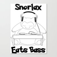 snorlax Canvas Prints featuring Snorlax Eats Bass by mattdawg8