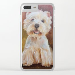 White Terrier Westie Dog portrait Oil painting on canvas Decor for Pet Lover Clear iPhone Case