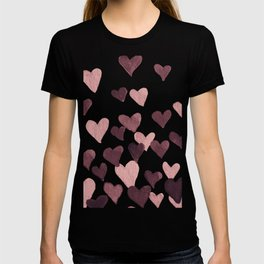 Valentine's Day Watercolor Hearts - dark pink T-shirt
