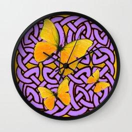 LILAC CELTIC PURPLE YELLOW BUTTERFLIES ART PATTERN  ART Wall Clock
