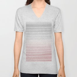 Touching Blush Gray Watercolor Abstract Stripe #1 #painting #decor #art #society6 Unisex V-Neck