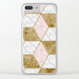 Dazzling marble geo - golden Clear iPhone Case