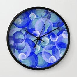 Groovy Blue Bubbles Retro Pattern Wall Clock