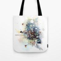 big bang Tote Bags featuring Big Bang by Travis Clarke