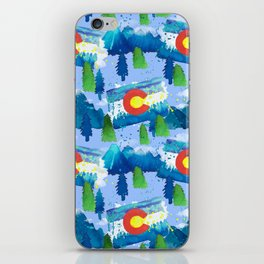 Watercolor Colorado mountains, trees and flag Light Blue iPhone Skin