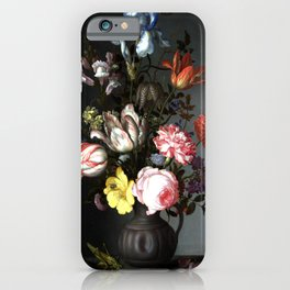 Flowers In A Vase With Shells And Insects iPhone Case