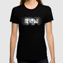 Run Geometric Typography - Black and White T-shirt