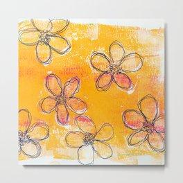 Sketchy Flower Sunset Metal Print