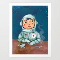 spaceman Art Prints featuring Spaceman by Milena Milak