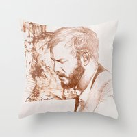 bon iver Throw Pillows featuring Bon Iver (Justin Vernon) by ChrisGreavesCreative