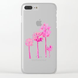 Tropical Pink Palms Clear iPhone Case