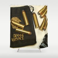 versace Shower Curtains featuring Versace Bullets Colt by Premium