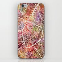 brussels iPhone & iPod Skins featuring Brussels by MapMapMaps.Watercolors