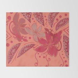Samoa Watermelon Polynesian Floral Throw Blanket