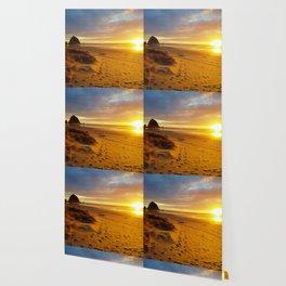 Cannon Beach Oregon at Sunset Haystack Rock Wallpaper