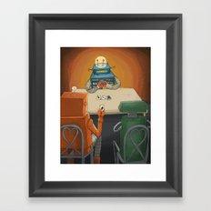robot in trouble Framed Art Print