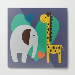 elephant and giraffe Metal Print