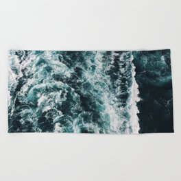 Green Seas, Yes Please Beach Towel