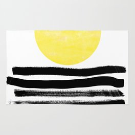 Soleil - sunset sunrise abstract painting art decor dorm college art painting brushstrokes india ink Rug