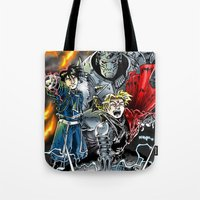 fullmetal Tote Bags featuring Fullmetal Alchemist by MarioRojas