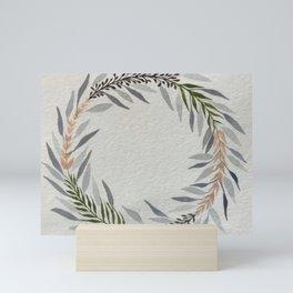 Grey Floral Wreath Mini Art Print